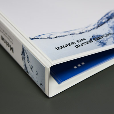 Ordner individuell bedruckt Offsetdruck Digitaldruck mit Einleger Registereinleger