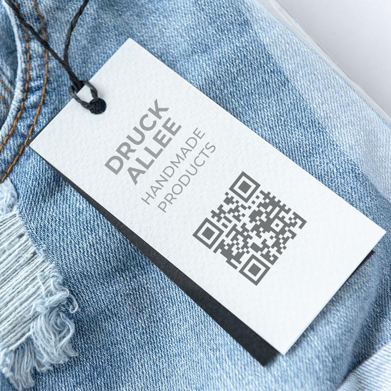 Hangtags mit QR-Code Produktkennzeichnung